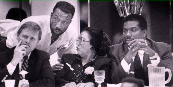 John Wiley Price (second from left) and Royce West (right), with then-Dallas Mayor Steve Bartlett and Adelfa Callejo at a summit on race relations in 1992.
