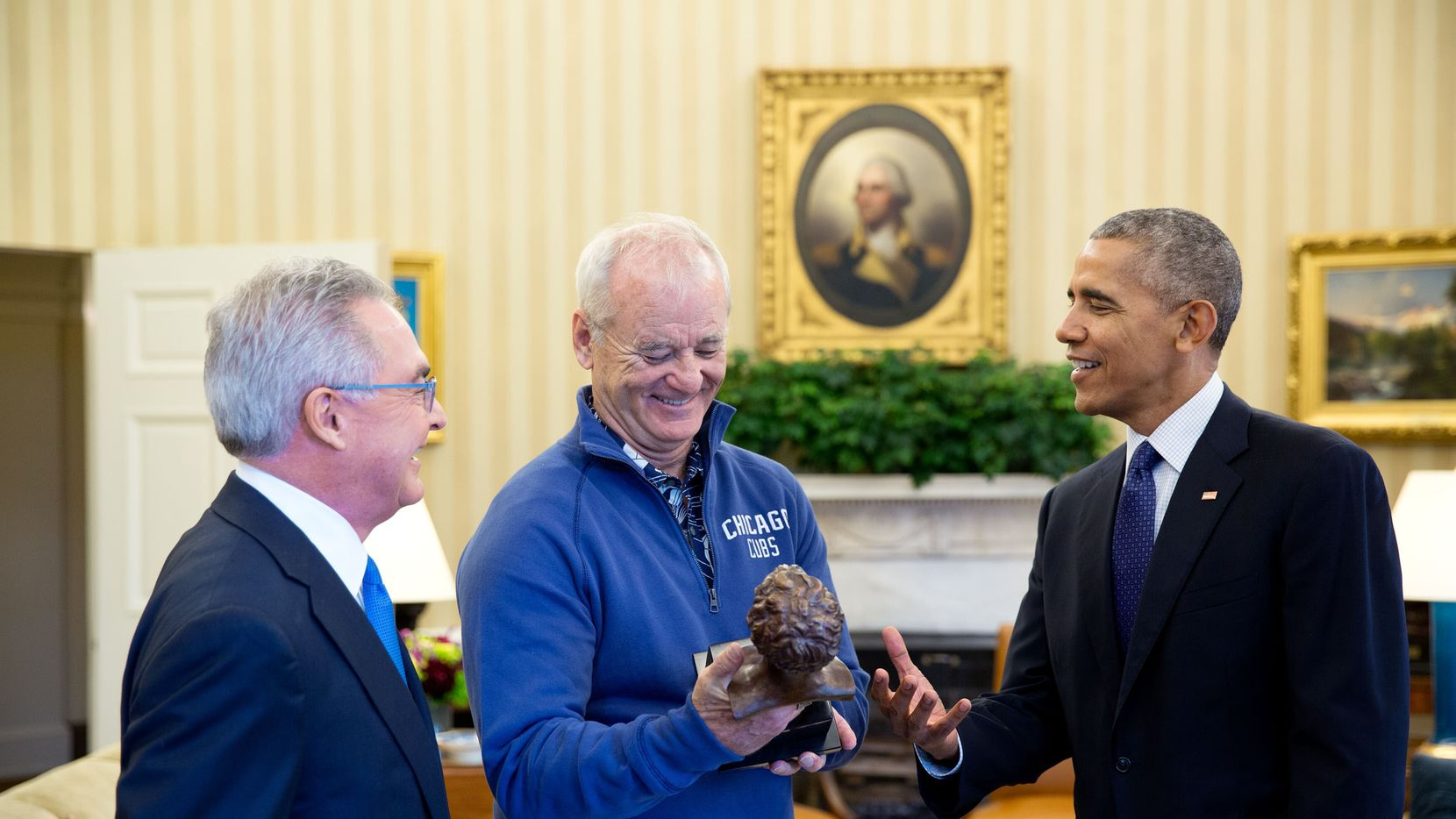 Cappy McGarr, Bill Murray and President Barack Obama share a laugh in the Oval Office.