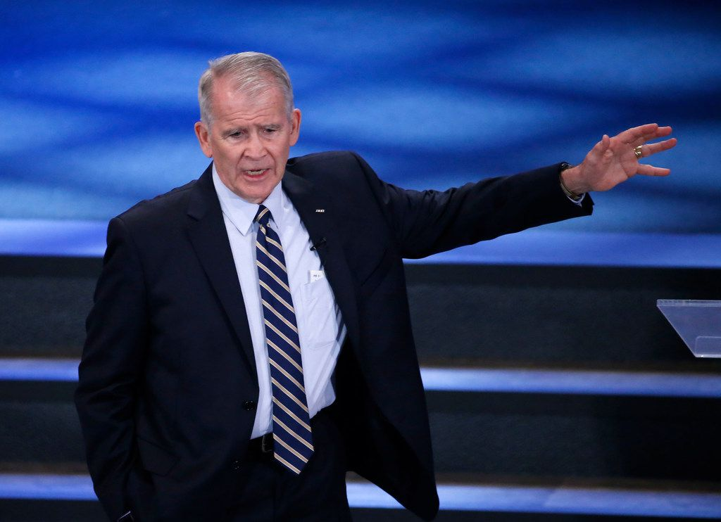 Lt. Col. Oliver North, the incoming president of the National Rifle Association, speaks at Fellowship Church in Grapevine, Texas, Sunday, May 27, 2018. (Jae S. Lee/The Dallas Morning News)