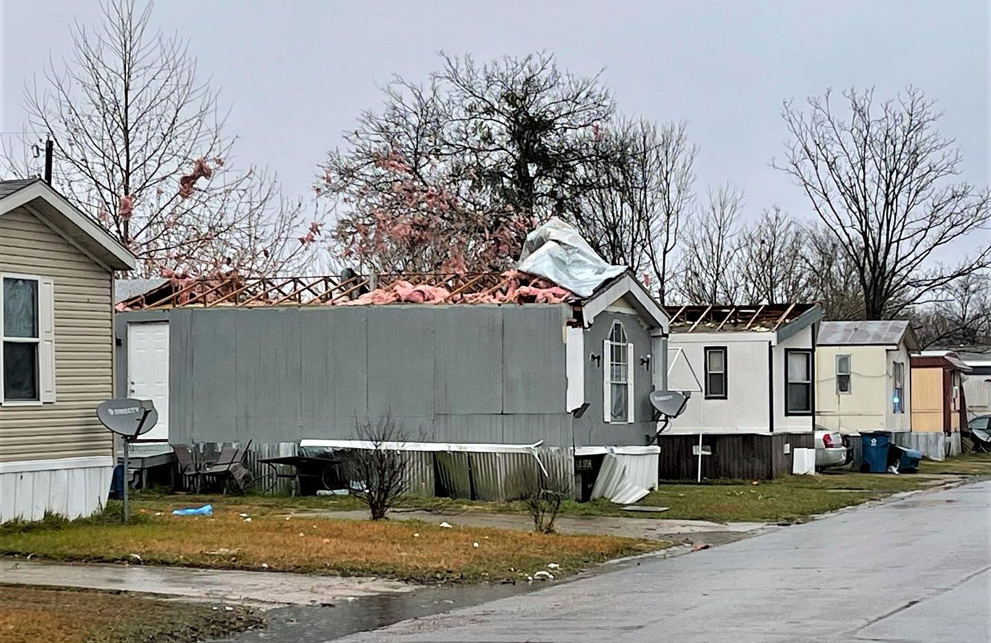 A handful of mobile homes were damaged by Wednesday morning's tornado in Corsicana, authorities said.