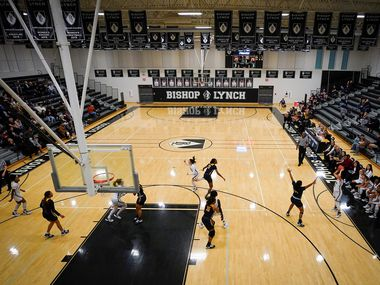 Bishop Lynch faces Prestonwood Christian in during a TAPPS 2-6A high school girls basketball game on Friday, Feb. 7, 2020, in Dallas. Bishop Lynch won the game 59-54.