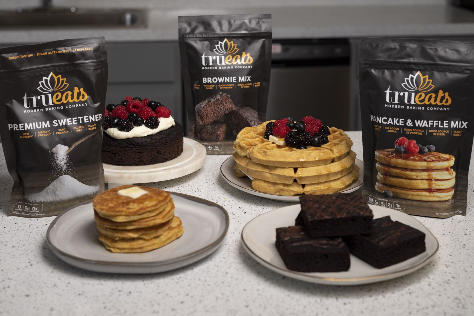 A premium sweetener, left, brownie mix and pancake and waffle mix; from TruEats Modern Baking Company, inside a research and development lab at Culinary Focus in Grand Prairie