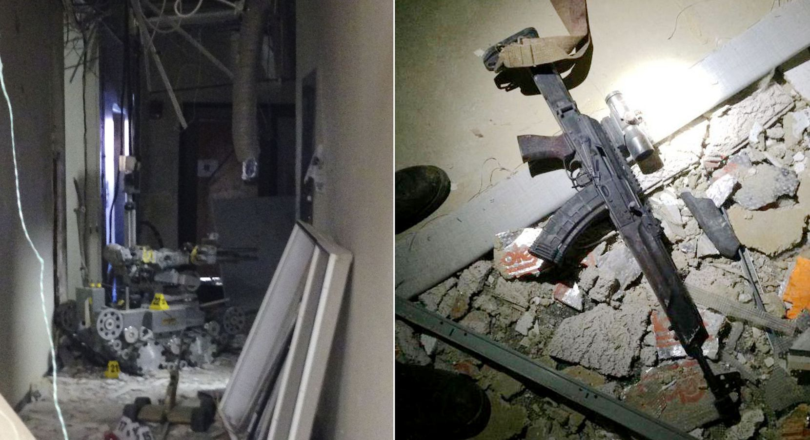 The remote-controlled robot (left) that officers used to detonate a brick of C-4 explosive that killed Micah X. Johnson. The gunman's rifle was left in the rubble at El Centro College the day after the shootings.