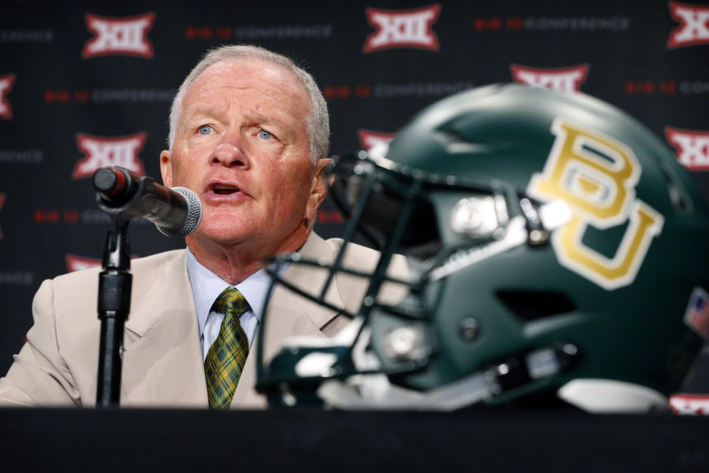 New Baylor head football coach Jim Grobe responds to reporters questions during the Big 12 Conference Football Media Days at the Omni Dallas Hotel, July 19, 2016. (Tom Fox/The Dallas Morning News)