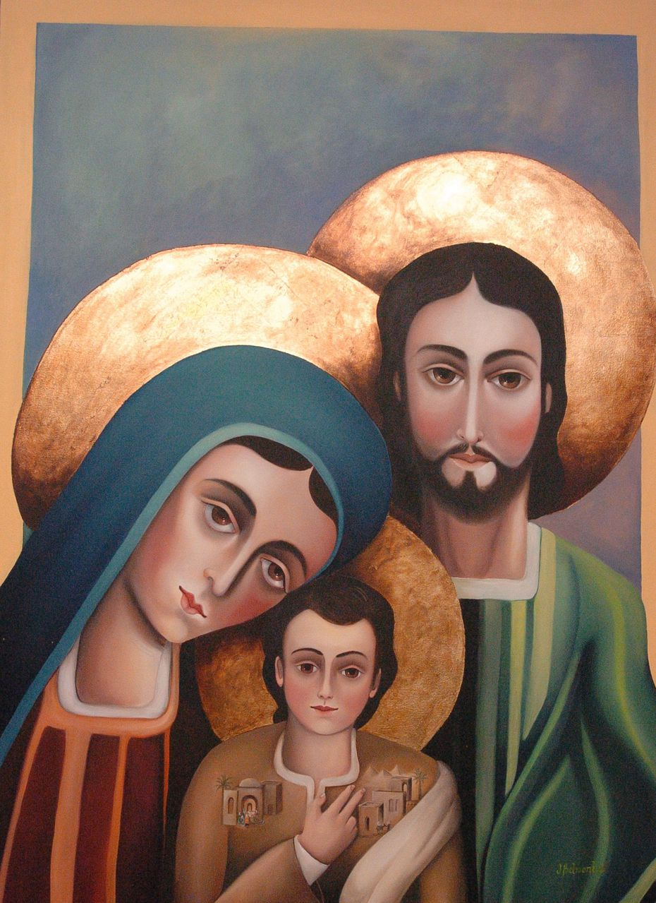 This painting of the Virgin Mary, Joseph and Jesus Christ was painted by the Rev. Jesus Belmontes of San Juan Diego Catholic Church. Photo taken on July 14, 2009 by Juan Garcia.