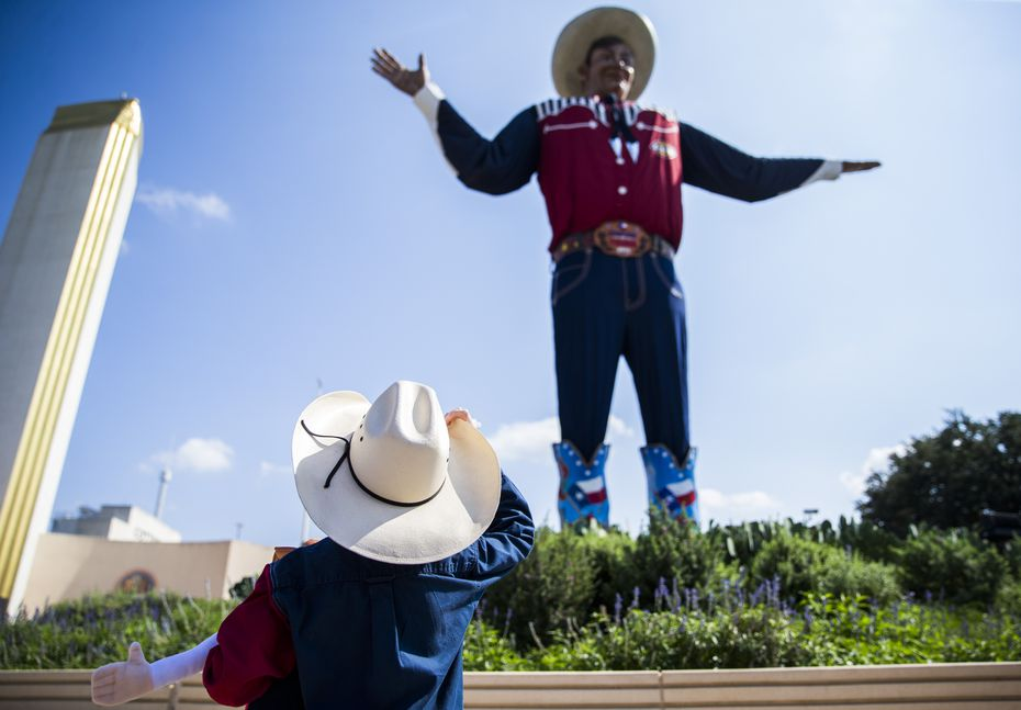 Isaiah Lee, 6, of Weatherford looks up at Big Tex on Friday, October 4, 2019 at Fair Park in Dallas.