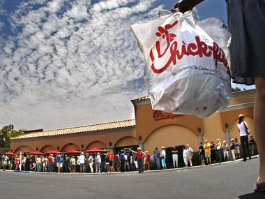 Hundreds of customers line up at the Chick-fil-A restaurant in Laguna Niguel, California on Wednesday, August 1, 2012. In March, the San Antonio city council booted the fast food chain from its local airport, citing the company's donations to Christian nonprofits that oppose LGBT rights. The Federal Aviation Administration is now investigating that decision.
