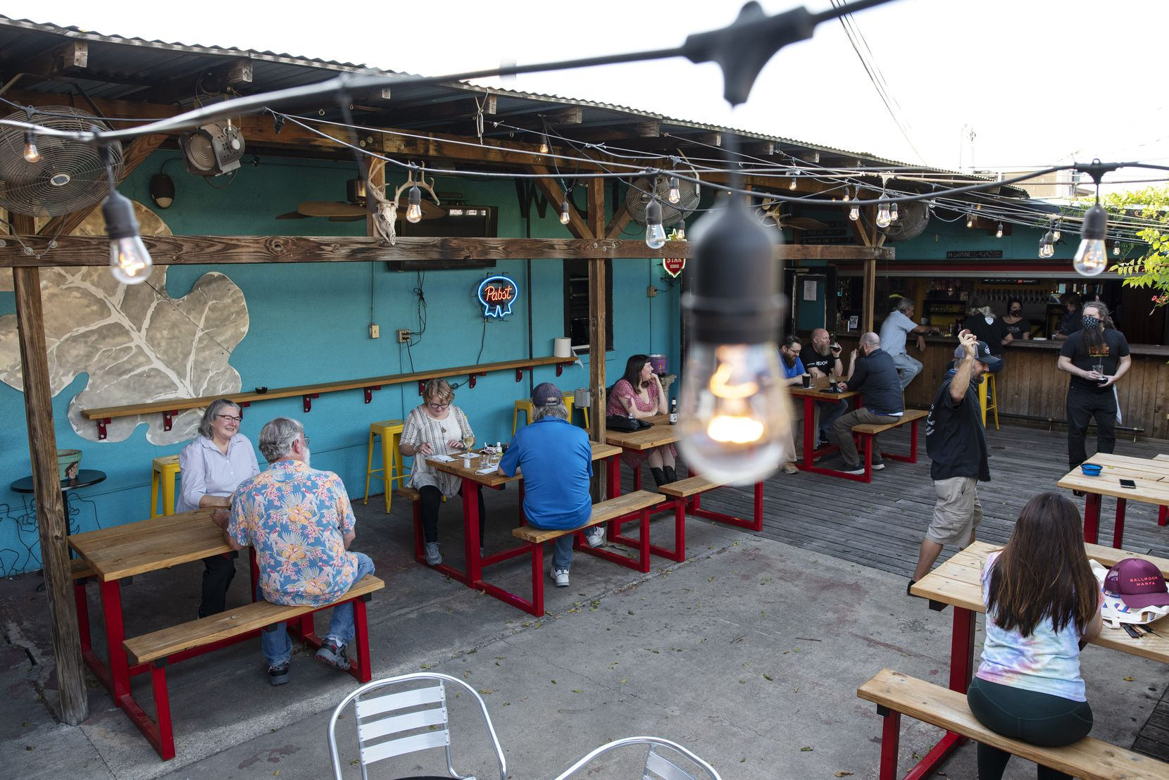 Folks were spaced apart as they took advantage of the nice weather and reopened bar service at Dan's Silverleaf.