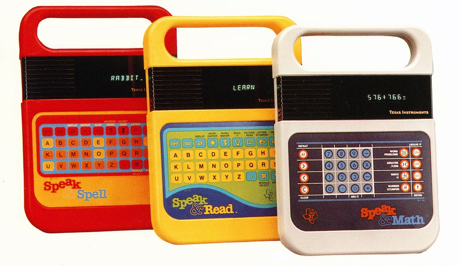 Before Tickle Me Elmo, before Cabbage Patch Dolls, there was Speak & Spell, the hot toy of 1978, and its stable mates Speak & Math and Speak & Read. The TI products pioneered the use of speech synthesis chips in consumer products.