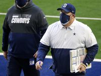 Dallas Cowboys head coach Mike McCarthy walks to locker room during halftime against the San Francisco 49ers at AT&T Stadium in Arlington, Texas, Sunday, December 20, 2020.