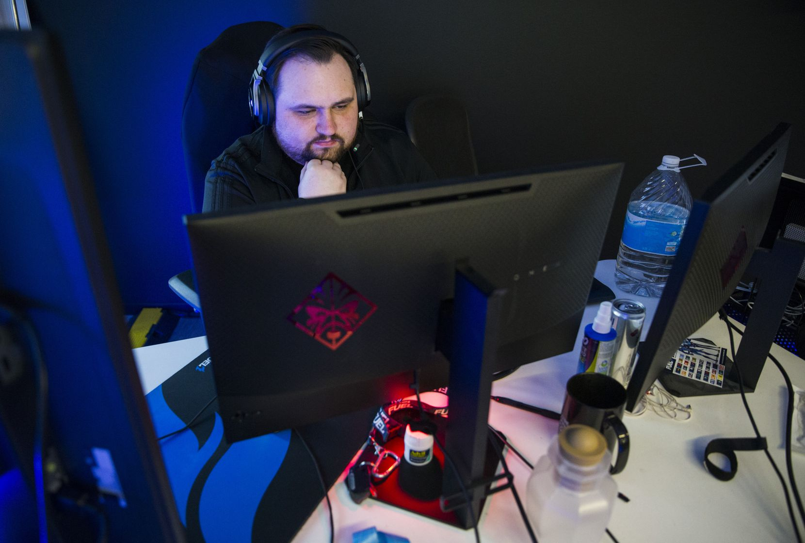 "Dallas Fuel Head Coach Aaron ""Aero"" Atkins practices on Wednesday, January 29, 2020 at Envy Gaming headquarters in Dallas. (Ashley Landis/The Dallas Morning News)"