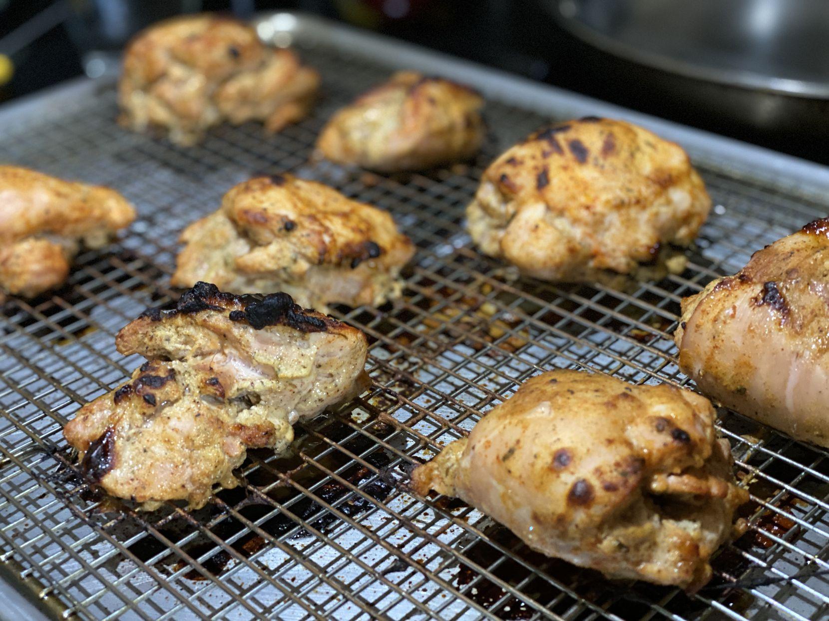 Tandoori roasted chicken thighs for butter chicken