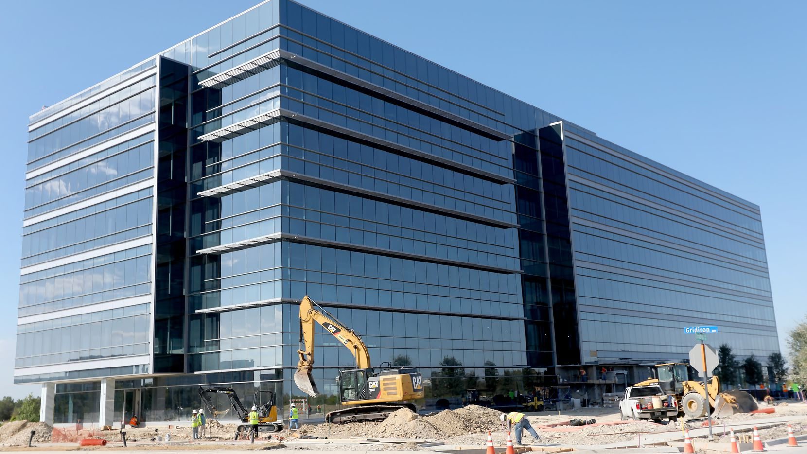 The Offices Two at Frisco Station building that's being built at the southwest corner of Cowboys Way and Gridiron Road north of  Warren Parkway in Frisco will open next month.