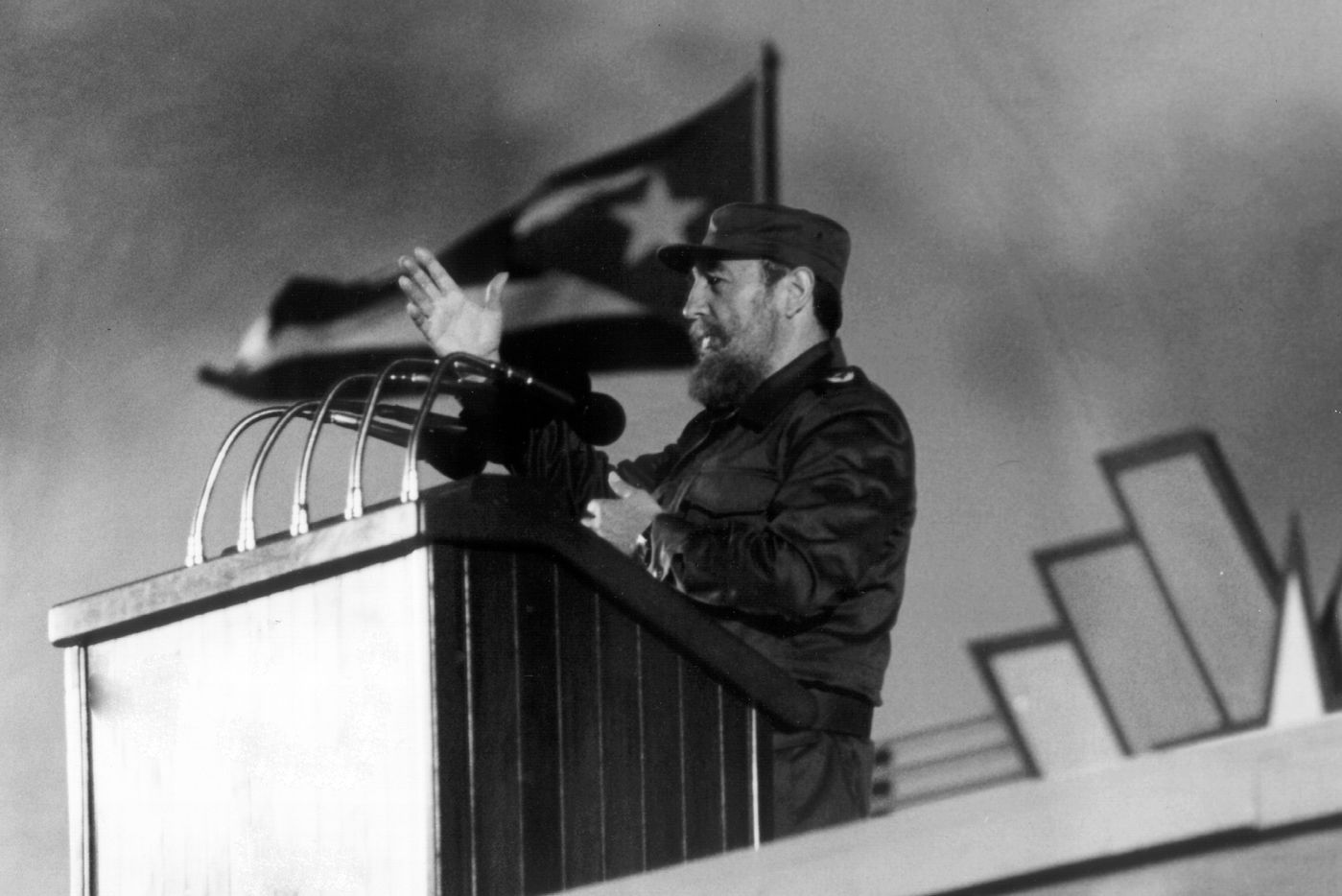 Cuban president Fidel Castro delivering a speech during the 30th Anniversary of the Cuban Revolution.