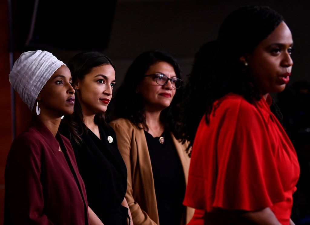 Democratic U.S. Rep. Ayanna Pressley speaks as Ilhan Abdullahi Omar, Rashida Tlaib and Alexandria Ocasio-Cortez hold a news conference, to address remarks made by President Donald Trump earlier this week.