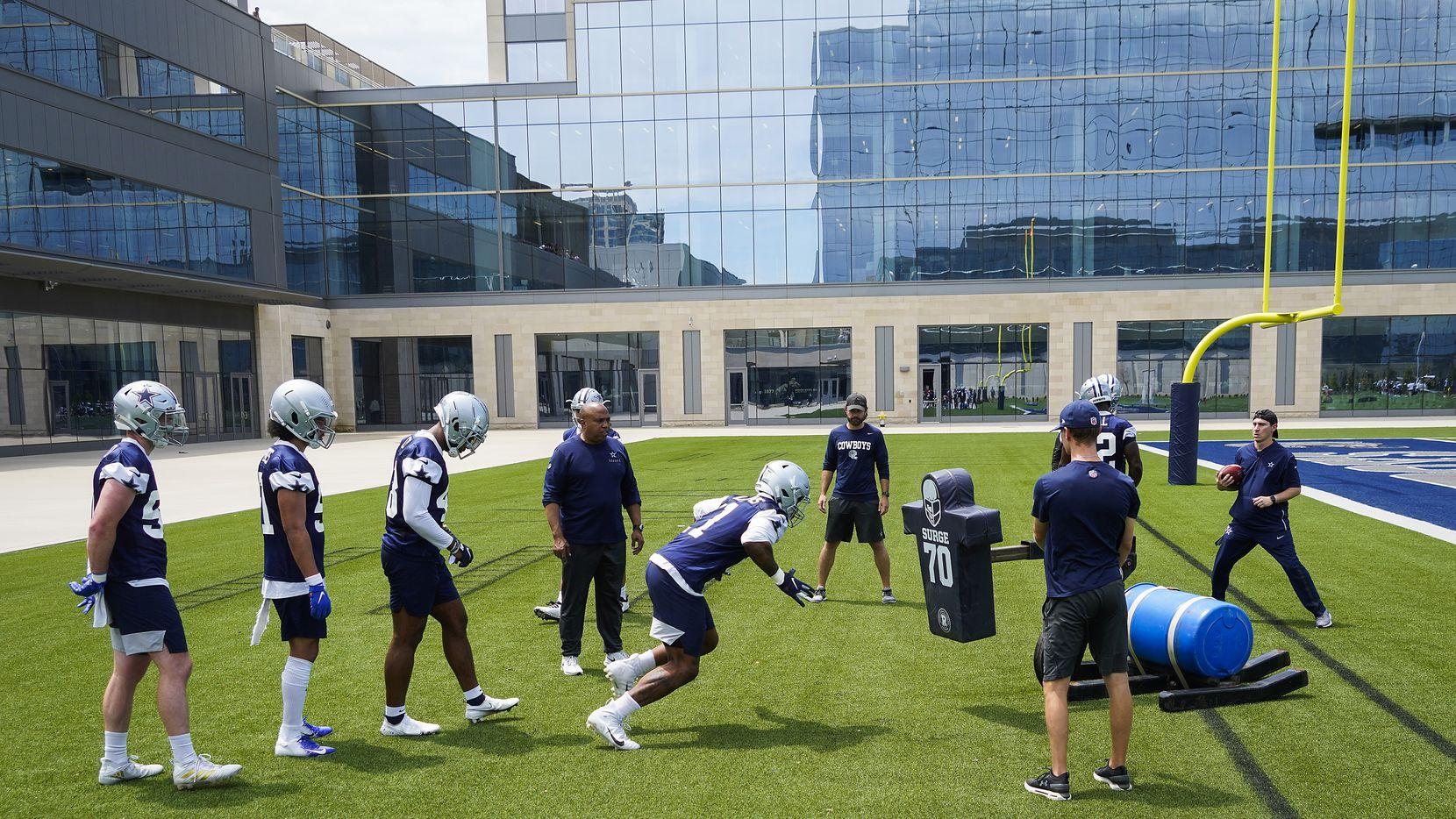 Dallas Cowboys linebacker Micah Parsons (11) runs a drill during a minicamp practice at The Star on Tuesday, June 8, 2021, in Frisco.