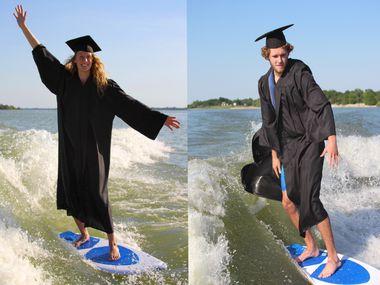 Chloe Regelean of Lucas and Carson Coker of Murphy surfing on Lake Lavon.