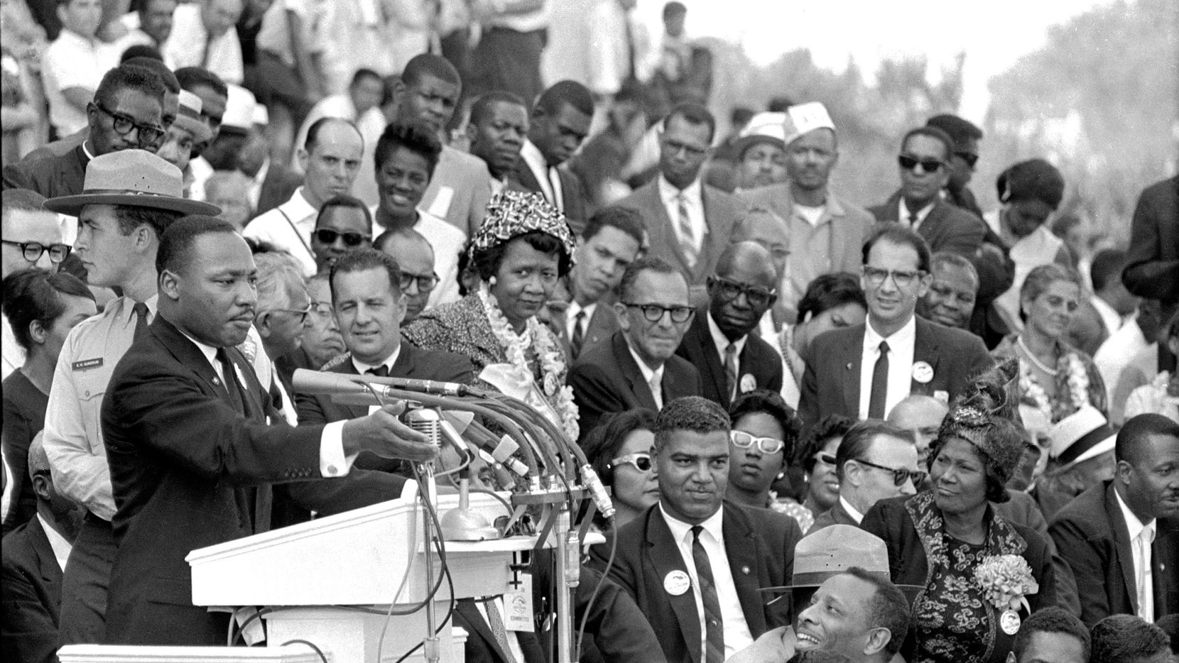 """The Rev. Dr. Martin Luther King Jr., head of the Southern Christian Leadership Conference, speaks to thousands during his """"I Have a Dream"""" speech in front of the Lincoln Memorial for the March on Washington for Jobs and Freedom in Washington on Aug. 28, 1963. (AP Photo/File)"""