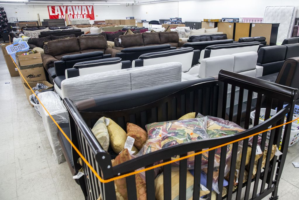 Because furniture is considered nonessential during the COVID-19 pandemic, the $1.00 Mart in Pleasant Grove roped that part of the store off after a compliance check by Dallas County employees.