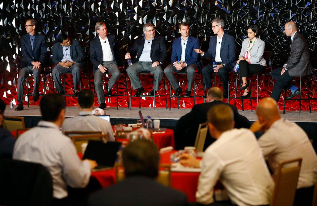 Sabre CEO Sean Menke (far right) and his executives answered questions at the end of their investor day conference March 6 at the Hilton Southlake Town Square.