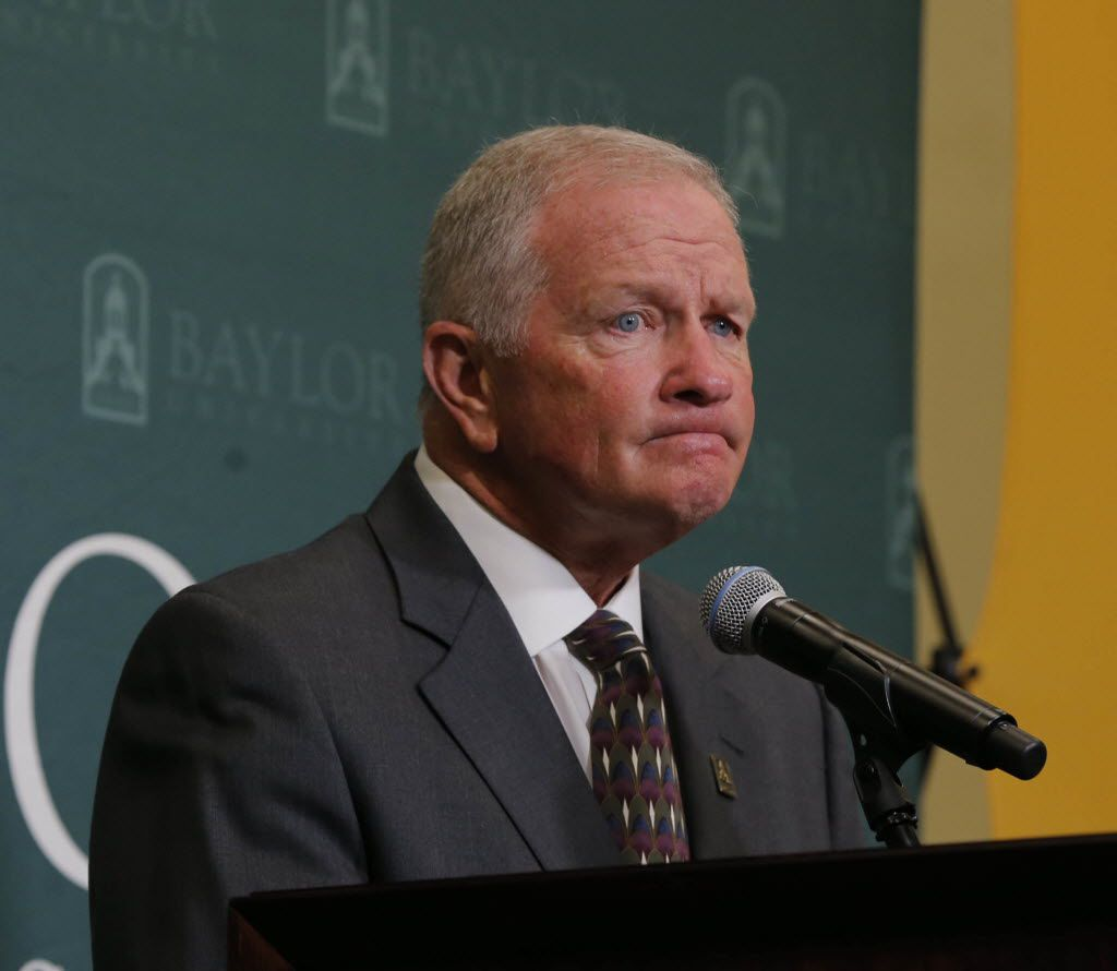 Baylor interim head football coach Jim Grobe reflects on a question during a news conference, Friday, June 3, 2016, in Waco, Texas. Grobe replaces former head coach Art Briles who was fired last week. (Rod Aydelotte/Waco Tribune Herald, via AP)