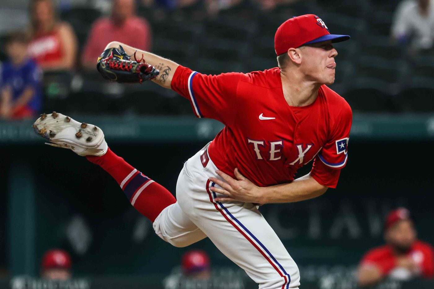 Texas Rangers pitcher Kolby Allard (39) throws during the first inning against the Seattle Mariners at Globe Life Field in Arlington, Texas, Friday, July 30, 2021. (Lola Gomez/The Dallas Morning News)