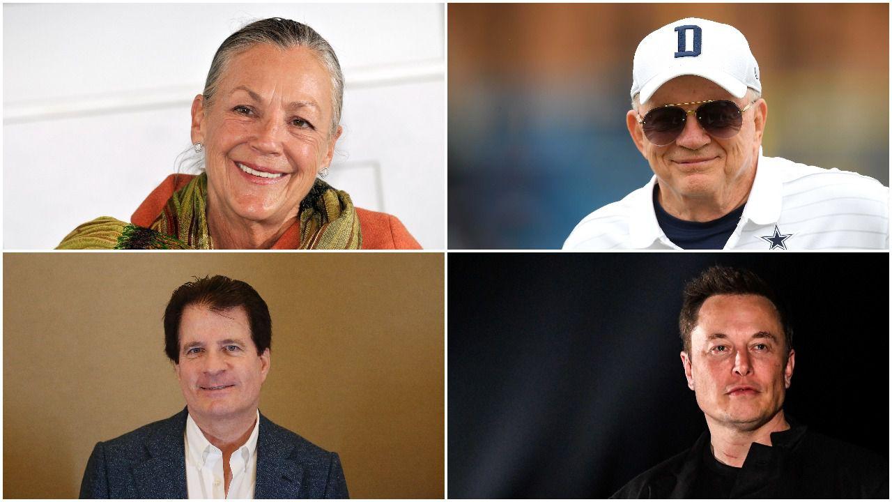 Alice Walton, Jerry Jones (arriba), Andy Beal y Elon Musk (abajo) están entre las personas más ricas de Texas este 2021, según Forbes.