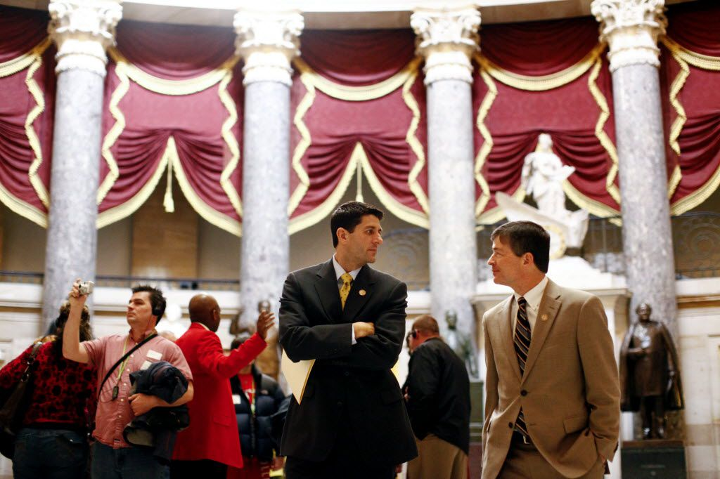 Republican Reps. Paul Ryan of Wisconsin (left) and Jeb Hensarling of Dallas walk to the House floor. Hensarling and Rep. Lamar Smith are retiring after their term ends in 2018.