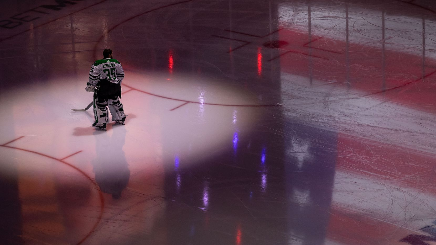 Goaltender Anton Khudobin (35) of the Dallas Stars stands during the anthem during Game Two of the Stanley Cup Final against the Tampa Bay Lightning at Rogers Place in Edmonton, Alberta, Canada on Monday, September 21, 2020.