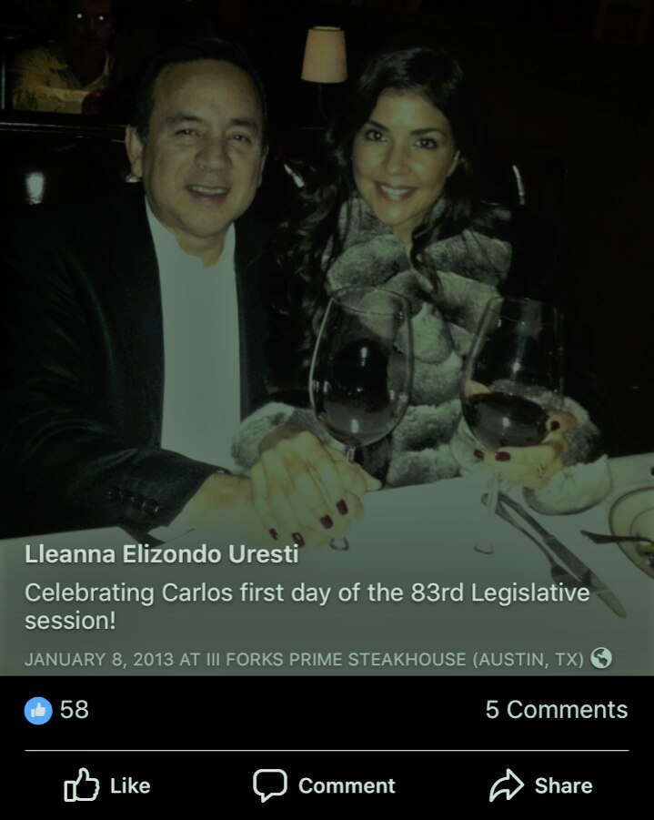 Sen. Carlos Uresti denied he was with the accuser on the night of the first day of the 2013 legislative session and presented a photo of him with his wife from that date.