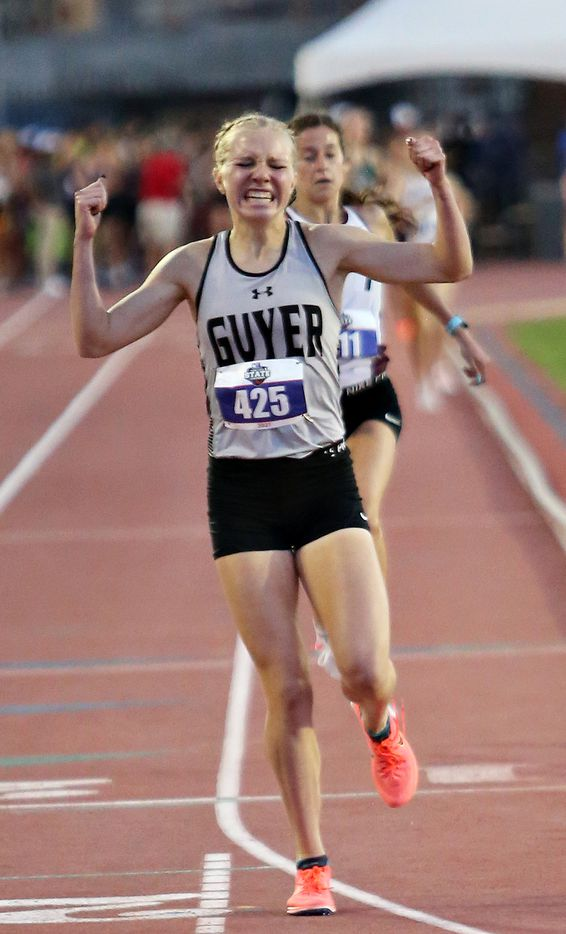 Denton Guyer'sBrynn Brown reacts after crossing the finish line in first place in the 6A Girls 1600 meter run during the UIL state track meet at the Mike A. Myers Stadium, at the University of Texas on May 8, 2021 in Austin, Texas.
