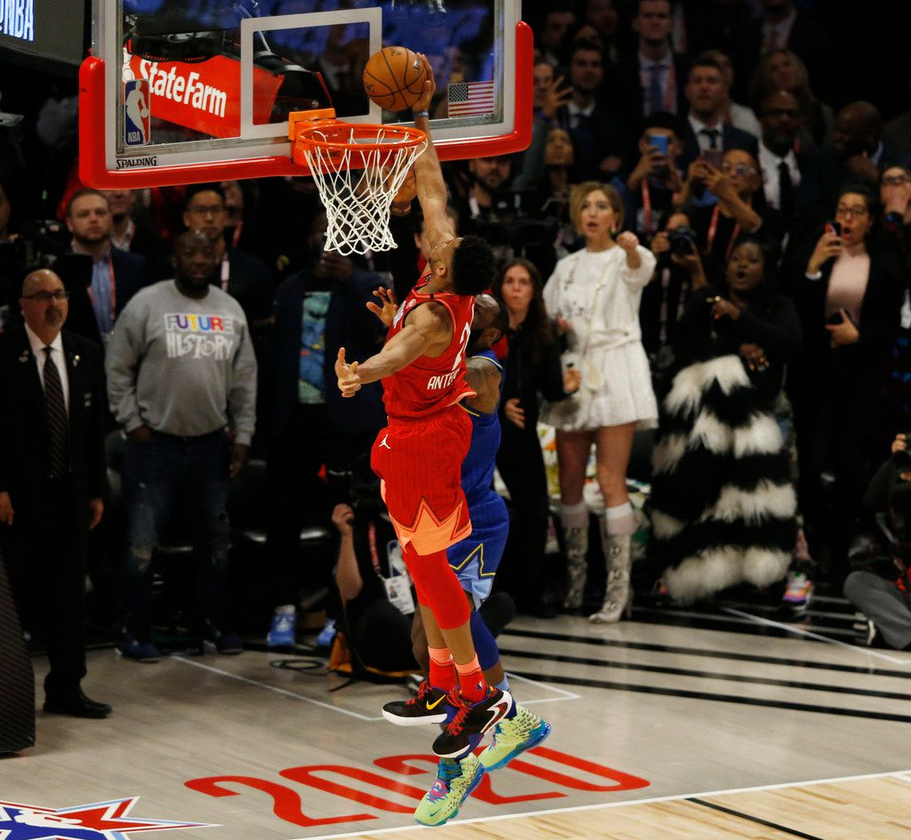 Team LeBron's LeBron James (2) shot is blocked by Team Giannis' Giannis Antetokounmpo (24) during the second half of play in the NBA All-Star 2020 game at United Center in Chicago on Sunday, February 16, 2020. Team LeBron defeated Team Giannis 157-155. (Vernon Bryant/The Dallas Morning News)