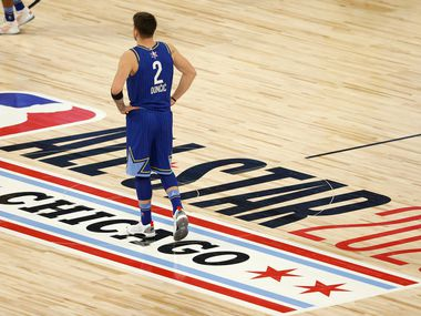 Team LeBron's Luka Doncic (2) during a break in play in the second half of play in the NBA All-Star 2020 game at United Center in Chicago on Sunday, February 16, 2020.