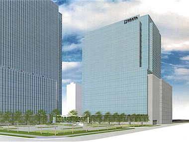 Early plans for Crow Co.'s Legacy office tower project. Reata will occupy the first of the two planned office buildings in Legacy business park.