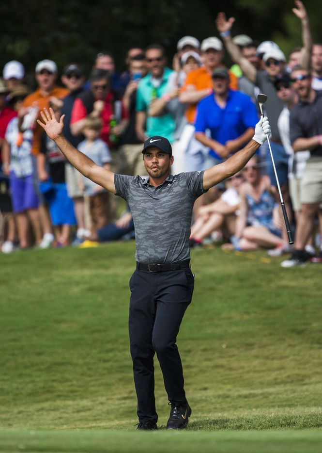 Jason Day celebrates after sinking a chip shot at the 15th hole during round four of the AT&T Byron Nelson on Sunday, May 21, 2017 at TPC Four Seasons in Irving, Texas.