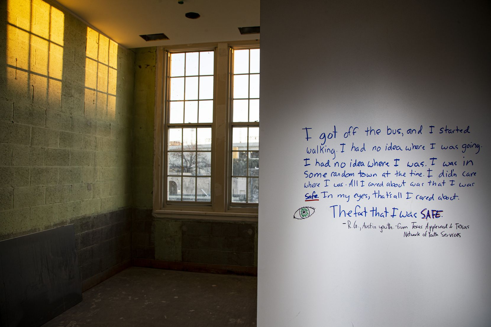 A vignette written on the wall of a dormitory by a student who had experienced housing instability at the Fannie C. Harris Youth Center in Dallas, Tuesday, December 17, 2019. The youth center will serve as a 35-bed shelter to DISD students who are experiencing housing instability.