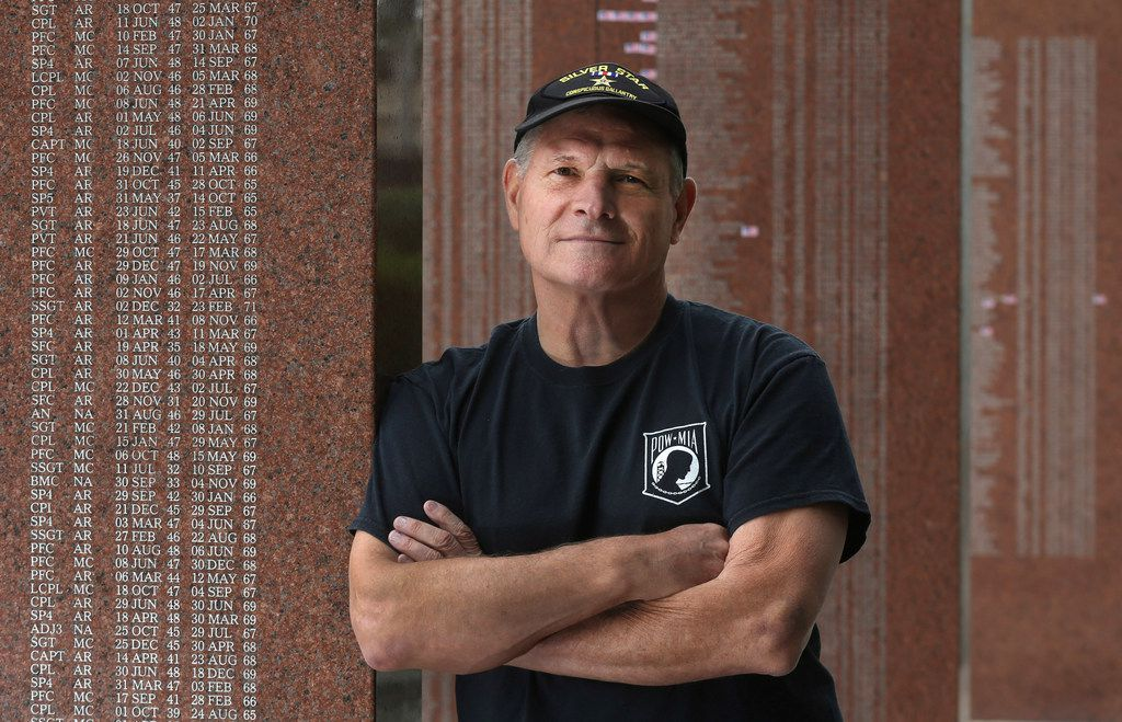 Mike Kuklenski is pictured at the Vietnam Memorial at Fair Park in Dallas. He was a Navy hospital corpsman treating wounded, injured Marines and earned the Silver Star for gallantry in 1969 during the Vietnam War. Photographed on Friday, November 3, 2017.