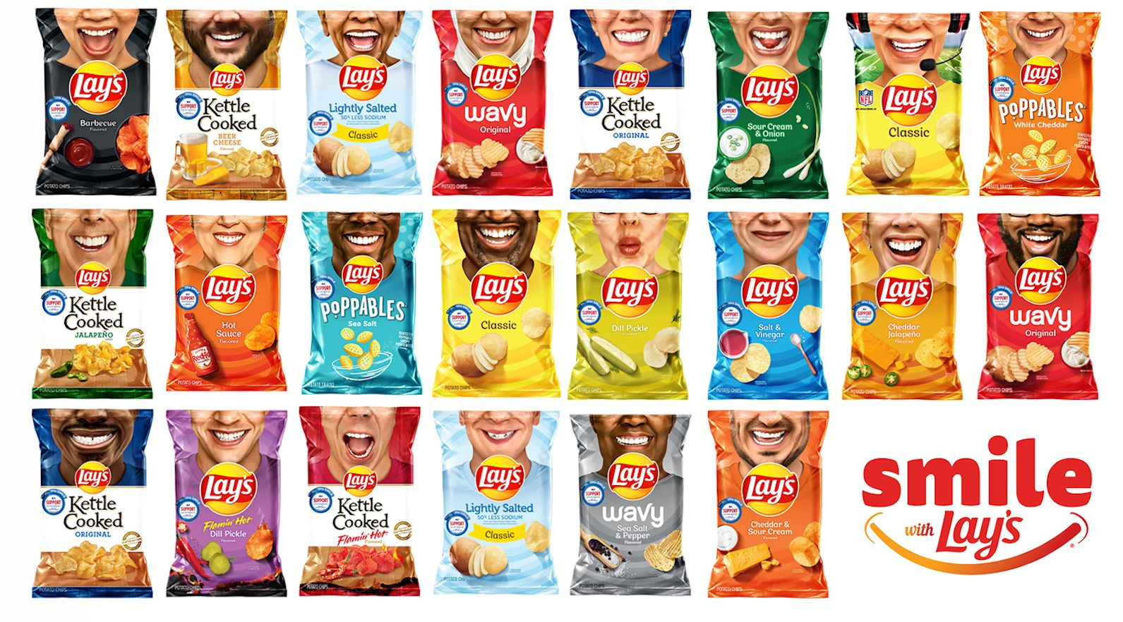 Each of the 30 individuals featured on the Smile with Lay's chip bags was nominated by his or her community for inspiring acts of service. In addition, the company is reintroducing Lay's Hot Sauce, Lay's Kettle Cooked Beer Cheese and Lay's Fried Pickles with Ranch for a limited time.