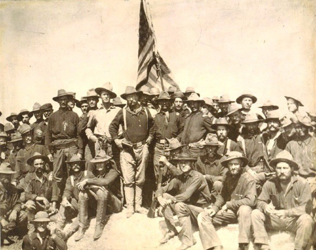 Col. Theodore Roosevelt and his Rough Riders at the top of the hill they captured  in  the Battle of San Juan.