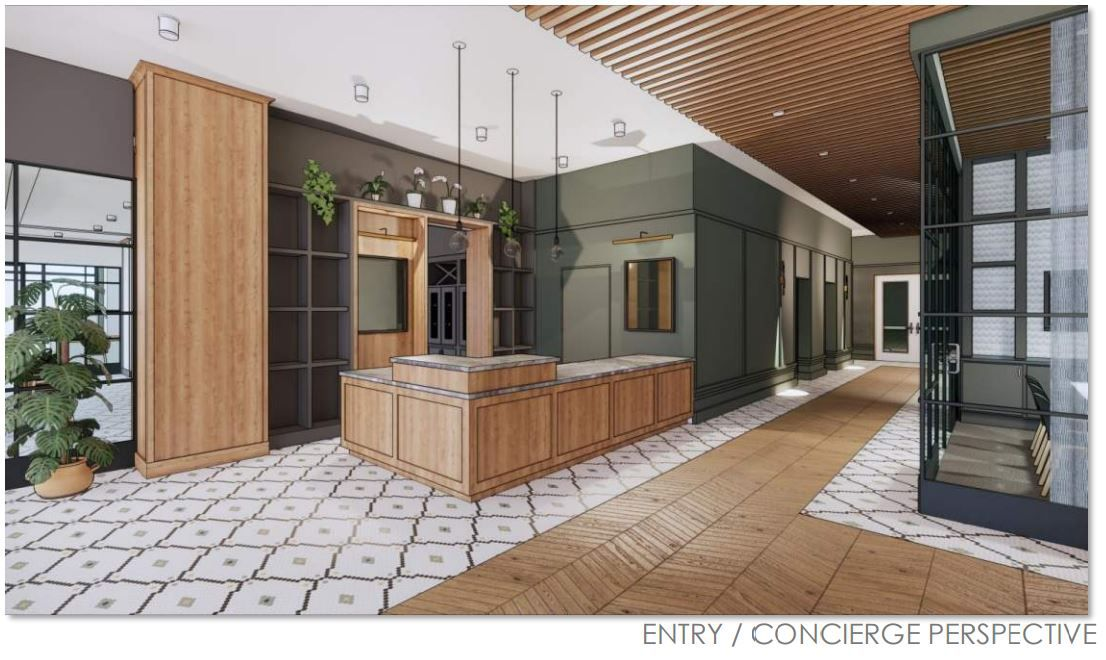 The entry lounge of the planned Katy Modera tower.