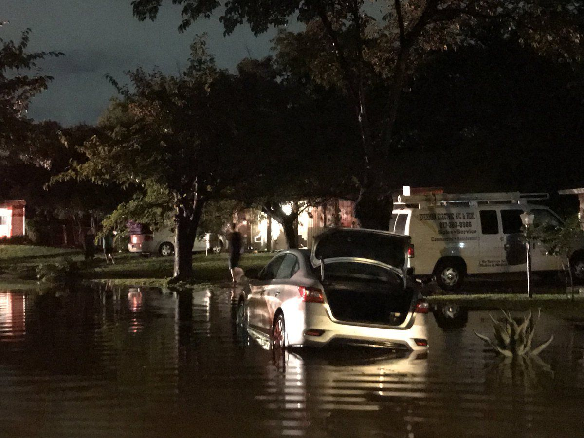 Heavy rains flooded streets overnight Saturday in Everman, a Fort Worth suburb.