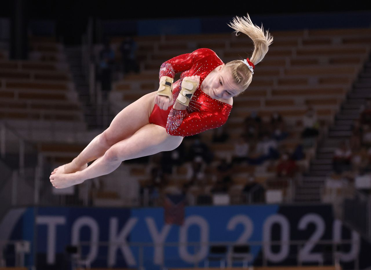 USA's Jade Carey competes on the vault in a women's gymnastics event during the postponed 2020 Tokyo Olympics at Ariake Gymnastics Centre on Sunday, July 25, 2021, in Tokyo, Japan. (Vernon Bryant/The Dallas Morning News)