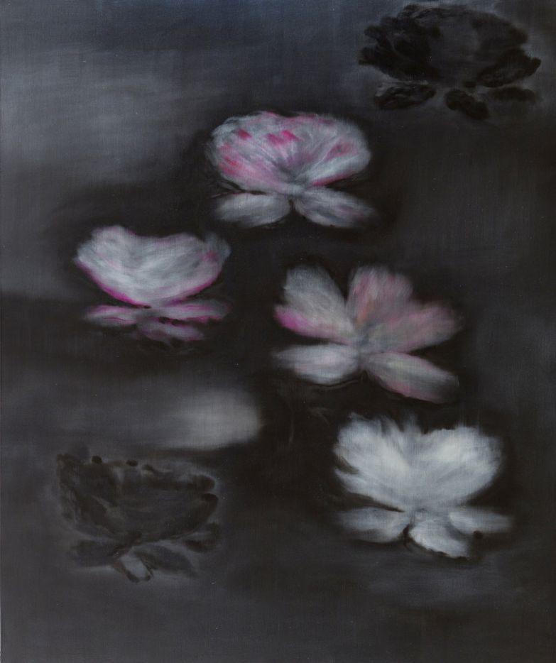 Black Monet, 2015, oil on linen, by Ross Bleckner, at Dallas Contemporary.