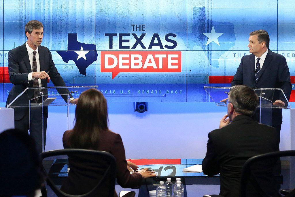 U.S. Rep. Beto O'Rourke (left) faces U.S.  Sen. Ted Cruz in a debate at the KENS 5 studios in San Antonio on Oct. 16, 2018.
