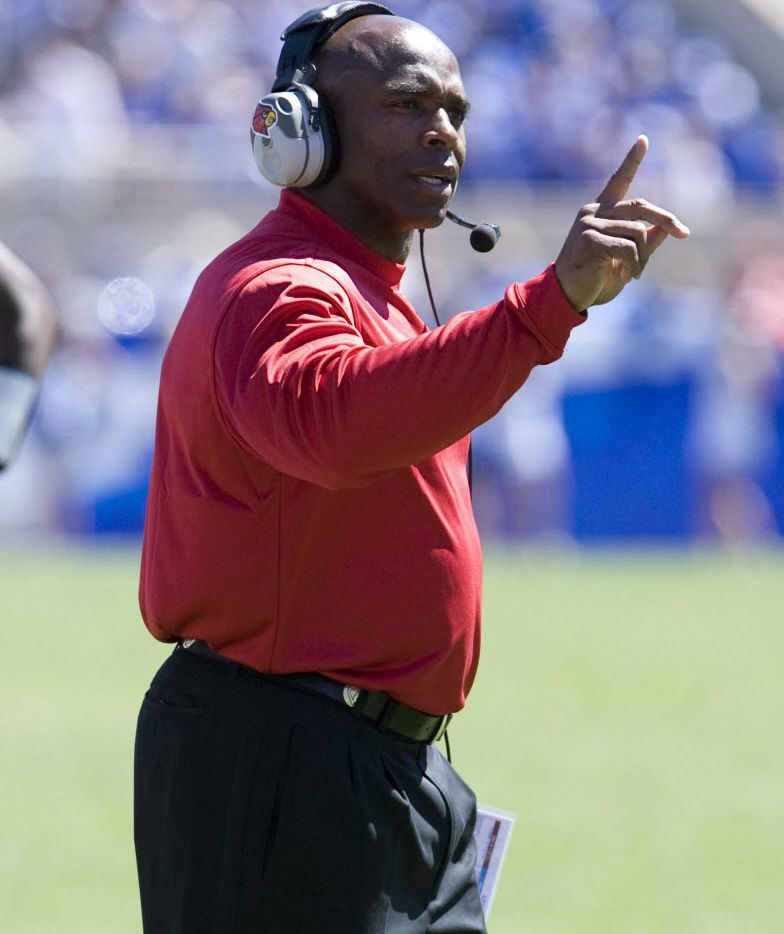 Texas' Charlie Strong during his time as Louisville head football coach from 2010-13.