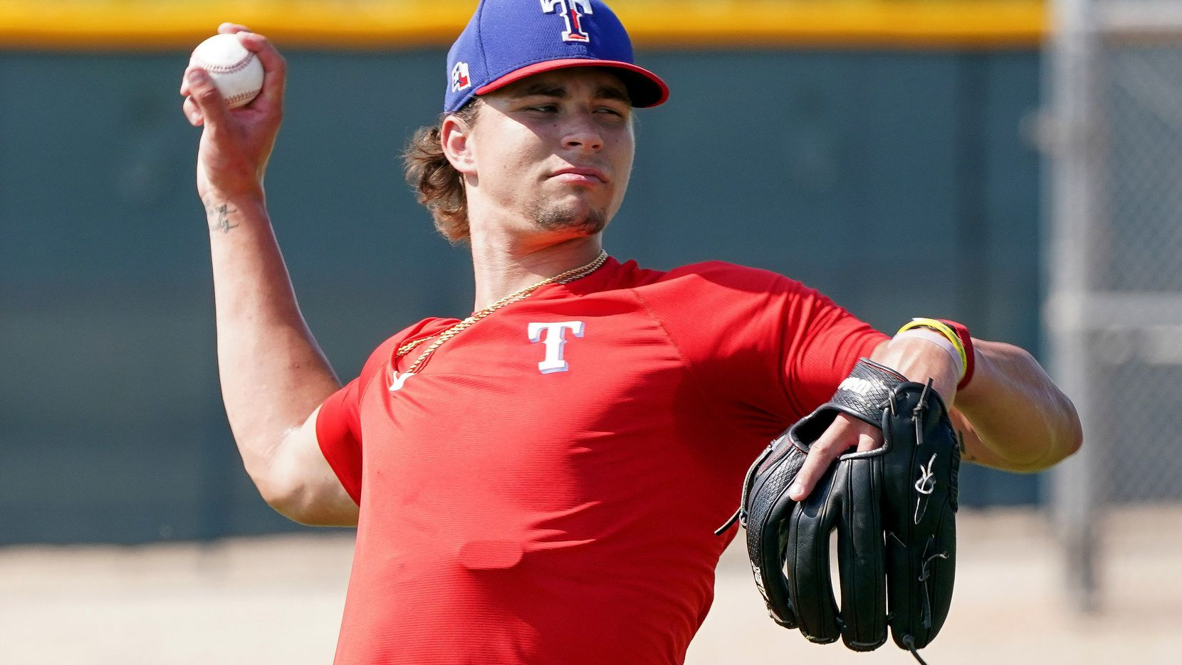 Texas Rangers top pitching prospect Ricky Vanasco rehabs with warm-up tosses at the Rangers Spring Training Facility in Surprise, AZ  Sept, 9, 2021.