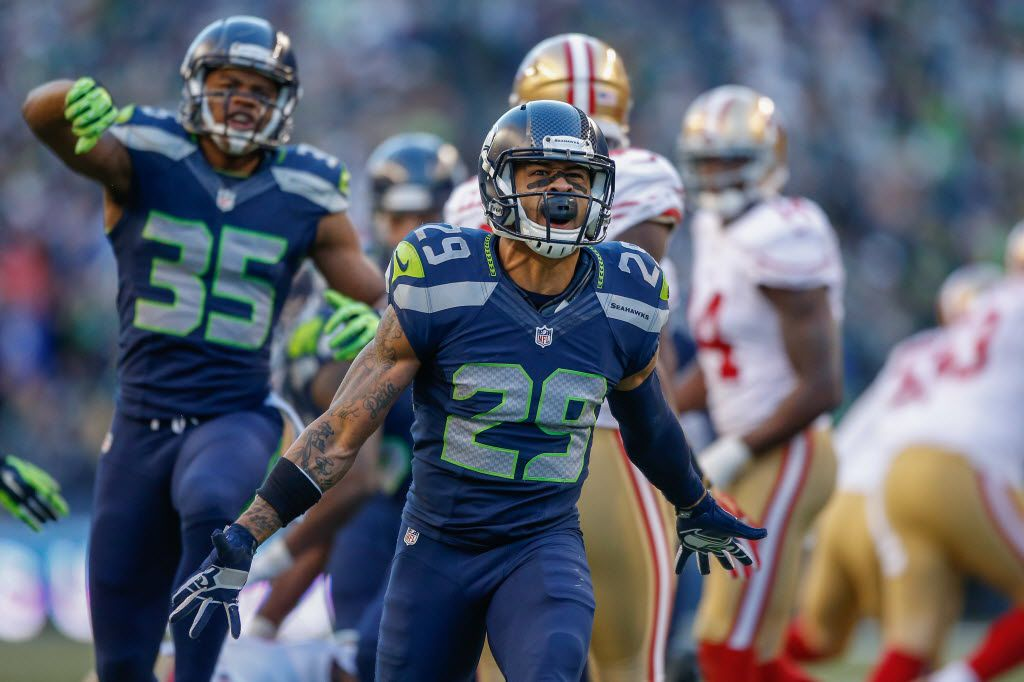 SEATTLE, WA - DECEMBER 14:  Free safety Earl Thomas #29 of the Seattle Seahawks celebrates a defensive stand in the third quarter against the San Francisco 49ers at CenturyLink Field on December 14, 2014 in Seattle, Washington. The Seahawks defeated the 49ers 17-7.  (Photo by Otto Greule Jr/Getty Images) 01022015xSPORTS