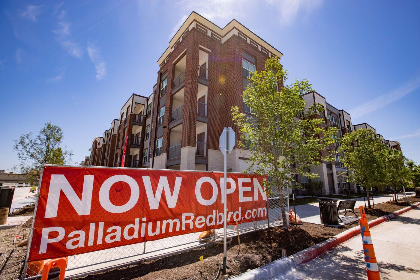 The exterior of the Palladium RedBird apartments.