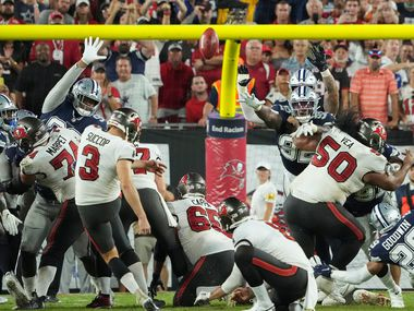 Tampa Bay Buccaneers place kicker Ryan Succop (3) kicks a game-winning field goal in the final seconds of an NFL football game against the Dallas Cowboys at Raymond James Stadium on Thursday, Sept. 9, 2021, in Tampa, Fla. The  Buccaneers won the game 31-29. (Smiley N. Pool/The Dallas Morning News)
