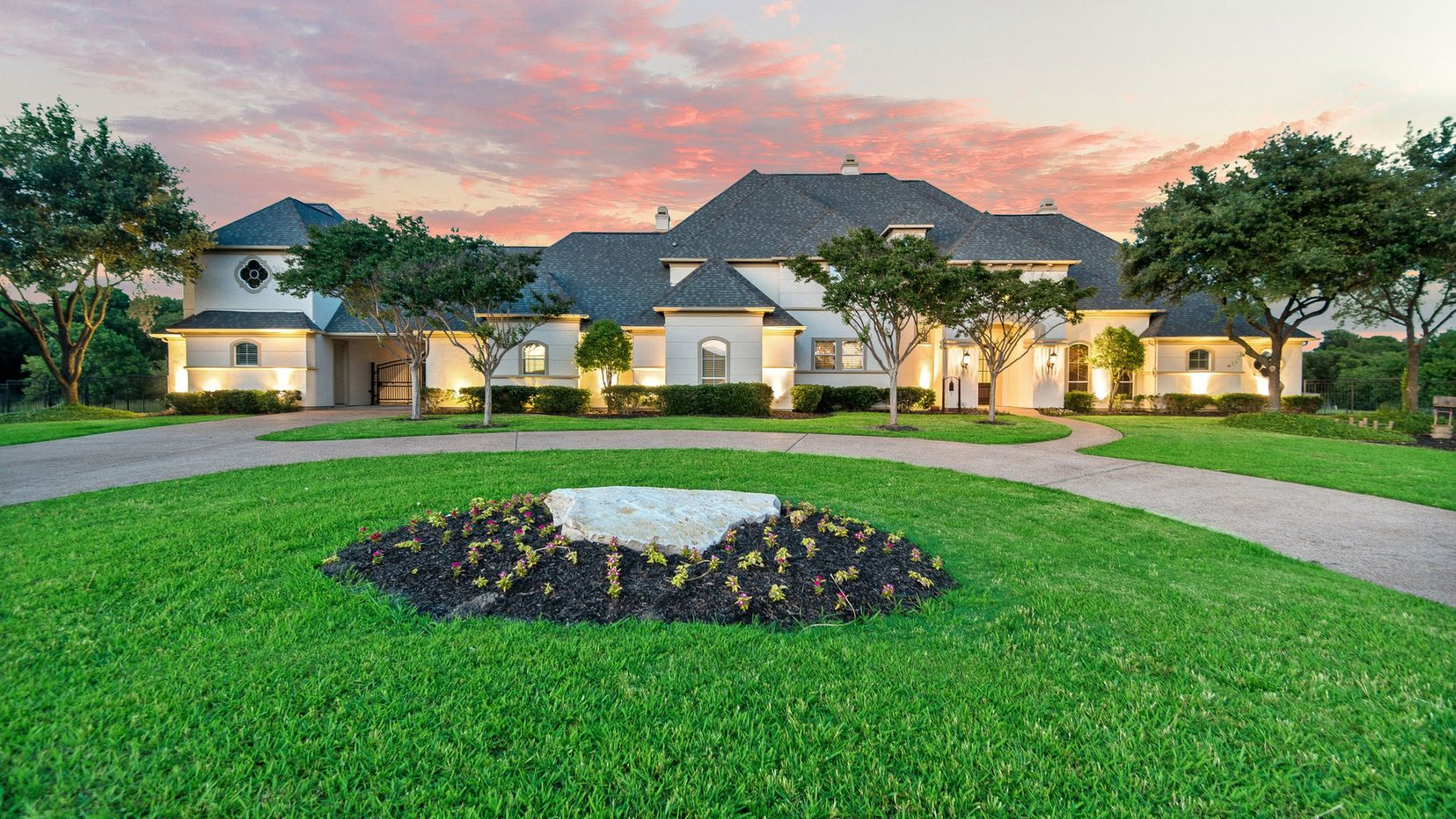 The estate at 539 Ridge Point Drive in Heath offers a pond and peninsula, a saltwater pool and proximity to Lake Ray Hubbard. It is listed at $1.3 million.